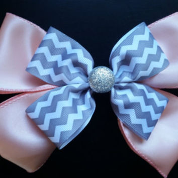 Pink and silver chevron bow