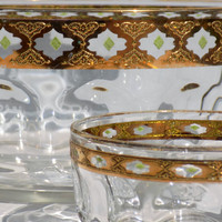 Culver Valencia Arcoroc France Glass Bowls, Mid Century Hollywood Regency Gold and Green Chip and Dip Set