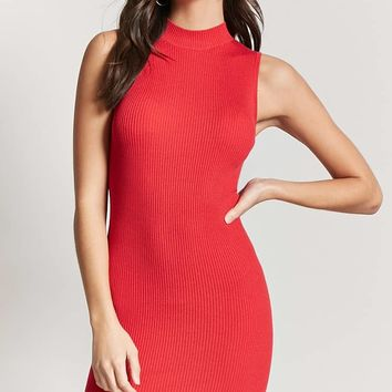 Ribbed Knit Mock Neck Dress
