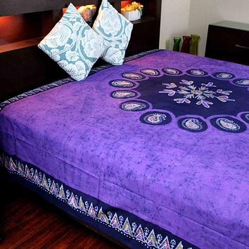 Multi Batik Cotton Paisley Floral Tapestry Wall Hanging Bedspread Purple Twin