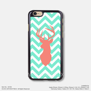 Mint Chevron Coral deer Free Shipping iPhone 6 6Plus case iPhone 5s case iPhone 5C case 189