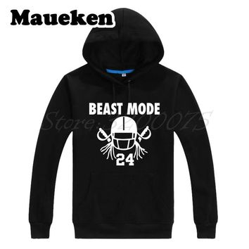 Men Hoodies Beast Mode Marshawn Lynch 24 with new team oakland Sweatshirts Thick for raiders fans gift Autumn Winter W17100905