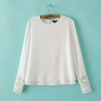 Women lace sleeve double layer blouses long sleeve vintage O neck shirt Feminines casual tops