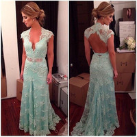 Mint Green Lace prom Dresses Mermaid 2015 Open Back Cap Sleeve Beaded Long evening Gowns Women Wedding Party Dress