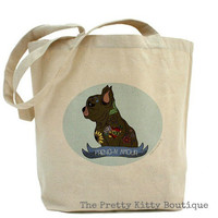 """Tattooed Black French Bulldog """"Frenchy Amour"""" Canvas Tote"""