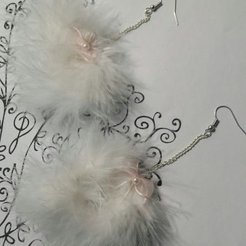 Pom Earrings - White Fluffy Marabou Feather Earrings with Light Pink Bow  - Pom Pom Earrings - clueless - mean girls