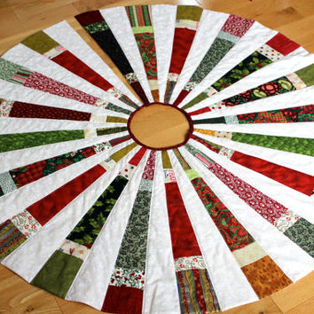 Christmas Tree Skirt  Scrappy Patchwork Quilted Ready to Ship