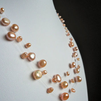 Floating Pearl Necklace Pink by Lunarpearl on Etsy