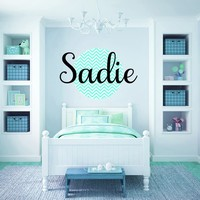 Personalized Round Chevron Pattern Name Monogram Girls Wall Decal
