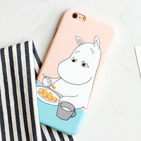 Fashion Hard PC Cartoon Hippo Case For iphone 5S Case For iphone 5 6 6S Plus Phone Cases Cute hippopotamus Moomin Cover Capa NEW