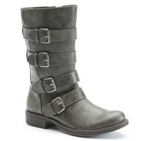 SO Women's Strappy Buckled Moto Boots