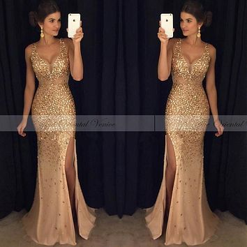 Sparkling Gold Crystal Sequins Champagne Mermaid Evening Dress Sexy V-Neck Side Split Rhinestones Prom Dresses Vestido De Fiesta