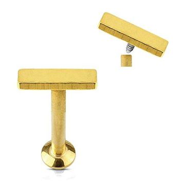 BodyJ4You Tragus Earring Cartilage Rectangle Stud Goldtone Steel Barbell 6mm 16G 1.2mm Piercing Jewelry