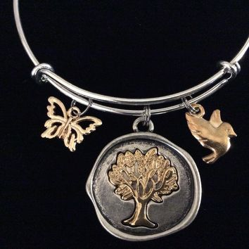 Tree of Life Butterfly Bird Adjustable Bracelet Expandable 2 Toned Silver and Rose Gold Silver Charm Bangle Trendy Family Gift