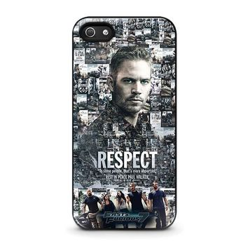 fast furious 7 paul walker iphone 5 5s se case cover  number 1