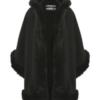 Kirsty Fur Trim Hooded Cape in Black