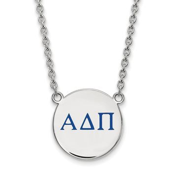 Sterling Silver Alpha Delta Pi Small Enamel Necklace