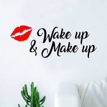 Wake Up and Make Up V6 Decal Sticker Living Room Bedroom Wall Vinyl Decor Art Beauty Girls Lashes Women Beautiful Brows Lips Lipstick