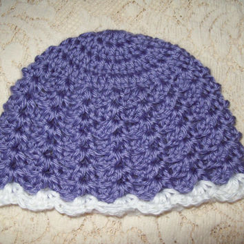 Purple Baby Hat // Crochet Lacy Purple Baby Hat // Newborn Purple Crochet Hat // Lacy Crochet Purple Baby Hat