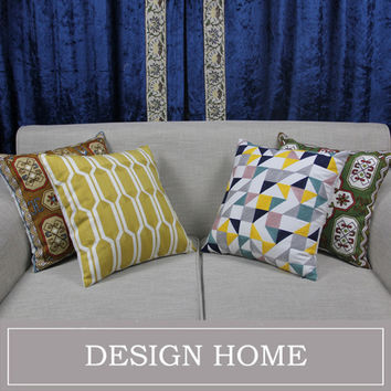 Yellow Embroidered Cushion Covers Decorative Pillow Covers For Sofa Housse De Coussin Linen Cotton Sofa Throw Pillows 45X45cm