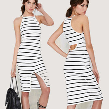 Slim Stripes Sleeveless Backless Round-neck Spaghetti Strap One Piece Dress [4966228612]