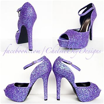 Lilac Glitter High Heels, Open Toe Strappy Shoes, Purple Platform Prom Pumps