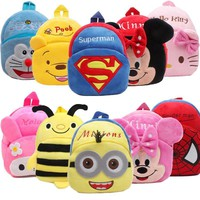Plush Cartoon Kids School Bags For Children Girls Spiderman School Backpacks For Baby Infant Boys Schoolbags Satchel Backpacks