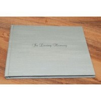 White In Loving Memory Memorial Sign-in Book - Linen