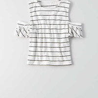 AEO Soft & Sexy Ribbed Cold Shoulder T-Shirt , Cream