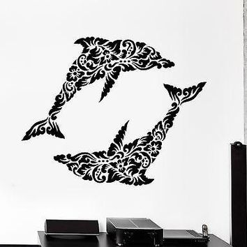 Wall Decal Dolphin Ocean Floral Ornament Tribal Mural Vinyl Decal Unique Gift (z3307)