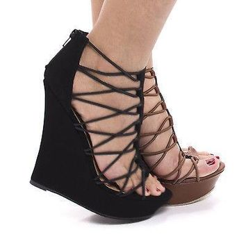 Dreamer48V By Bamboo, Strappy Looped Open Toe Platform High Wedge Sandals