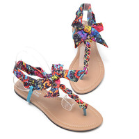 T Shape Flat Sandals with Chiffon Bowtie K061602 Multi-color
