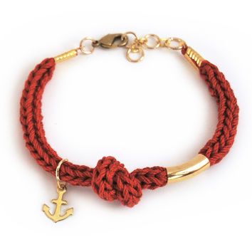 Anchor bracelet with tube, burgundy knit cord with knot, nautical