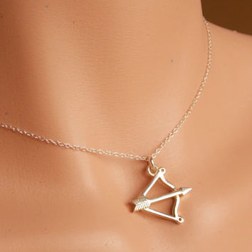 Bow And Arrow Necklace, Hunting Gifts Jewelry, Sterling Silver Arrow Necklace,  Women Gift, Teen Girl Gift