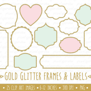 Gold Glitter Frames Clip Art. Gold Glitter Labels Clip Art. Mettalic Sparkle Frames and Borders. Vintage Frames and Borders Clip Art.