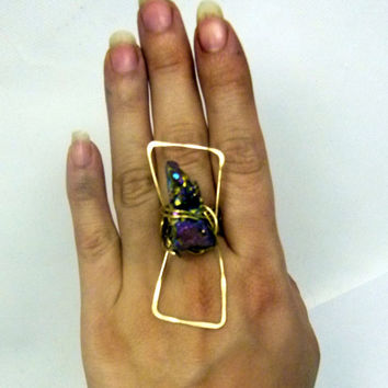 Long  druzy stone ring , statement art ring , wire wrapped abstract design hammered wire ring , soft gold brass ring