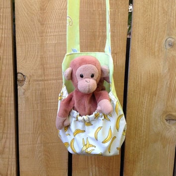 Monkey and Bananas Stuffed Animal Carrier Great Gift for Kids Snack Water Bottle Carrier Too Beany Toy Monkey Included