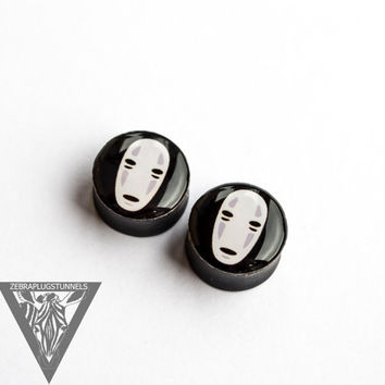 Sale Gauges No Face image ear plugs anime 4,5,6,8,10,12,14,16,18,20,22,24,26-60mm;6g,4g,2g,0g,00g;1/4,5/16,3/8,1/2,9/16,5/8,3/4,7/8,1 1/4,1""