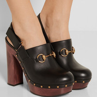 Gucci - Amstel horsebit-detailed leather clogs