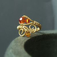 Tangerine ring 18 k gold plated handmade jewelry Fire opal Swarovski crystal beaded