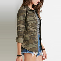 Casual Sheath Disposition Camouflage Jacket