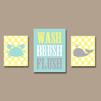 WASH Brush Wall Art Bathroom Canvas Nautical Boy Artwork Child Sea Ocean Animal Whale Crab Flush Yellow Aqua Gray Polka Dot Set of 3 Prints