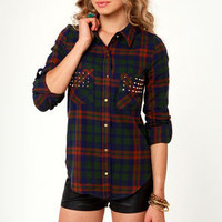 American Plaid-iator Studded Flannel Plaid Top