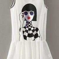White Girl Printed Two Piece Dress