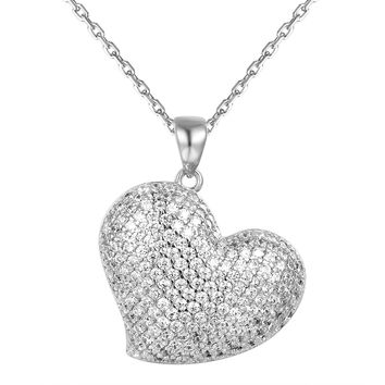 Sterling Silver Tilted Puffed Heart Pendant Valentine's Gift