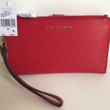 NWT!!MICHAEL KORS Double Zip Pebbled Leather Wallet Wristlet In Bright Red $108