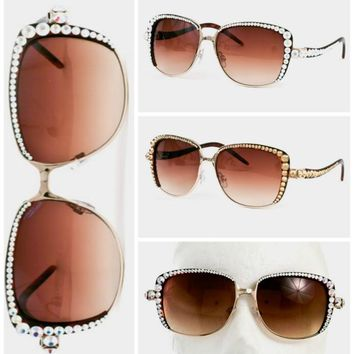 Julianna Swarovski Crystal Embellished Sunglasses
