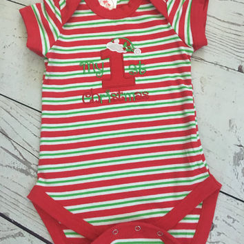 Christmas Baby Onesuit,Baby Gift,Red Green Bodysuit,Gender Neutral,Unisex,Baby Boy,Baby Girl,My First Christmas,Baby Outfit,Cute Baby Clothes