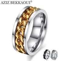 AZIZ BEKKAOUI Customized Name Wedding Rings Stainless Steel Special Turnable Chain Design Finger Rings 3 Color Wide Ring for Men