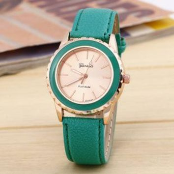 top Geneva Classic Women Golden Flower Crown Double Color Wristwatch Girl Fashion Quartz